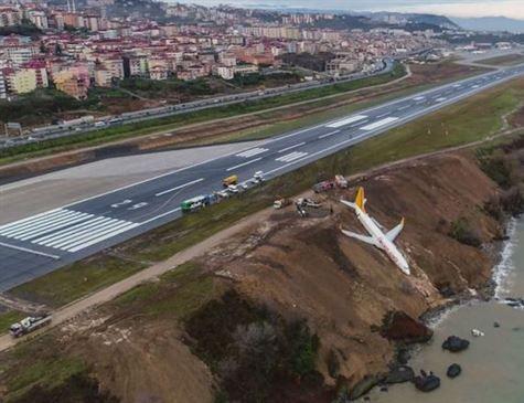 Avião sai da pista e quase cai na água na Turquia