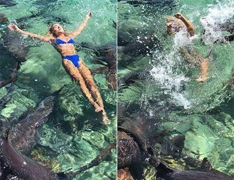 Modelo de 19 anos é mordida por tubarão em praia nas Bahamas