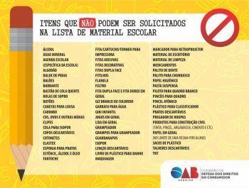 OAB/SE orienta sobre itens que não podem ser solicitados na lista de material escolar