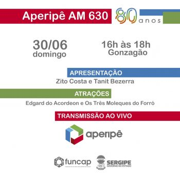 Rádio Aperipê AM 630 vai celebrar seus 80 anos neste domingo, 30
