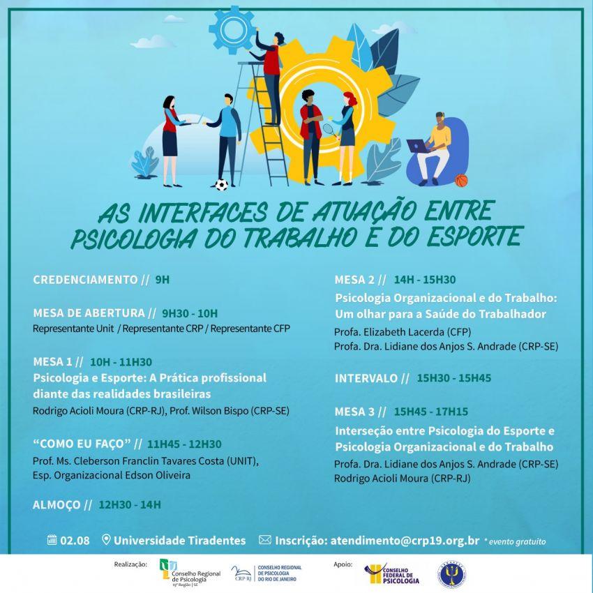 Conselhos Regionais de Sergipe e Rio de Janeiro promovem debate sobre Psicologia do Trabalho e do Esporte