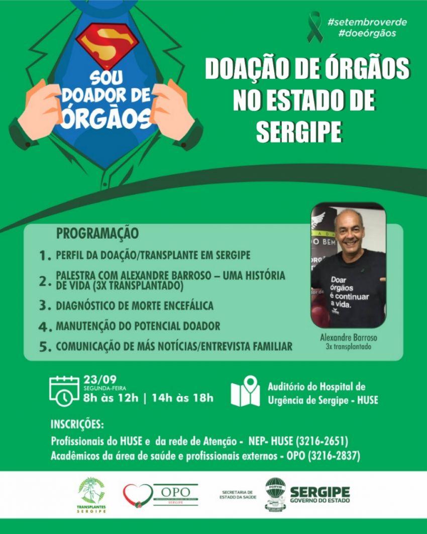 Doação de Órgãos no Estado de Sergipe será tema de palestra para profissionais de saúde