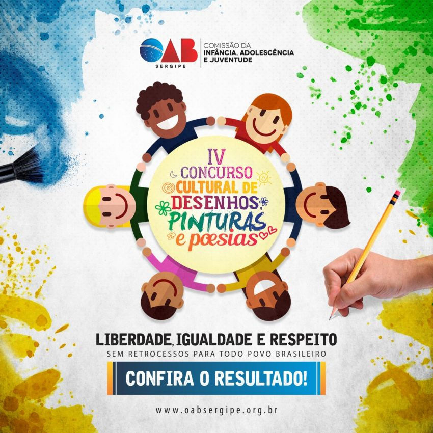 Confira o resultado IV Concurso Cultural de Desenho, Pintura e Poesia da infância e juventude da OAB/SE