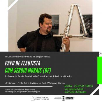 Conservatório de Música promove live 'Papo de Flaustista' com o músico Sérgio Morais