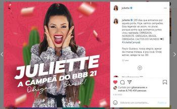 Juliette entra no Guinness por post mais rápido a bater um milhão de curtidas