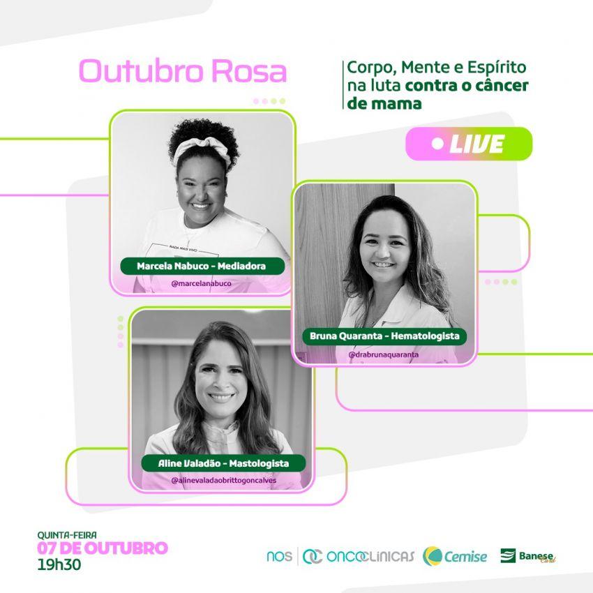 Banese Card promove live sobre câncer de mama e formas de enfrentamento à doença